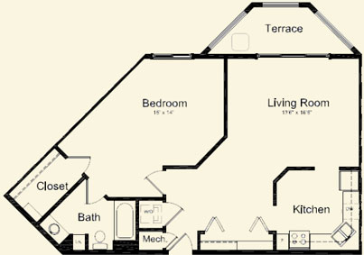 Maple (927 sq), 1 Bedroom, 1 Bath