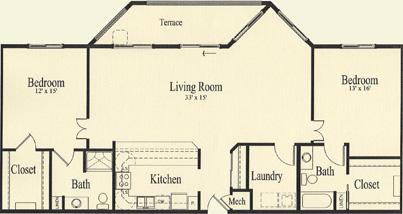 Oak (1,542 sq), 2 Bedroom, 2 Bath