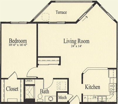 Ash (938 sq), 1 Bedroom, 1 Bath