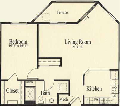 Ash (938 sq), 1 Bedroom, 1 Bath