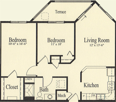 Ash 2 (938 sq), 2 Bedroom, 1 Bath