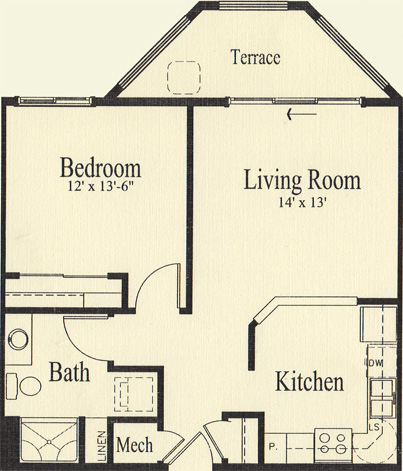 Hickory (703 sq), 1 Bedroom, 1 Bath