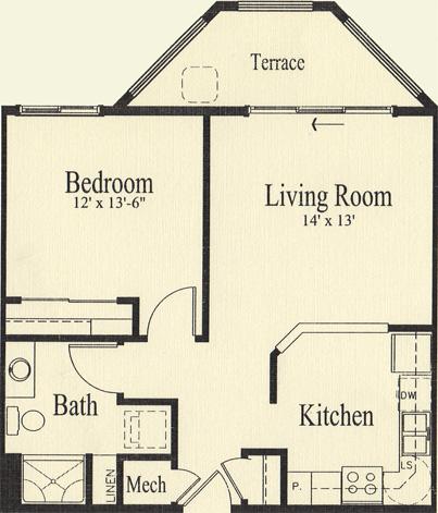 Hickory (703 sq), 1 Bedroom, 1 Bath