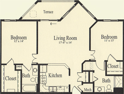 Linden (1,096 sq) 2 Bedroom, 2 Bath